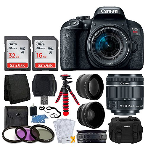 Canon EOS Rebel T7i Digital SLR Camera with EF-S 18-55mm f/4-5.6 is STM Lens + 58mm Wide Angle Lens + 2X Telephoto Lens + 48GB SD Memory Card + UV Filter Kit + Flexible Tripod - Full Accessory Bundle