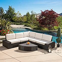 Winston 6 Piece Outdoor Wicker Sofa Sectional Set with Sunbrella Cushions