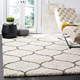 """Safavieh Hudson Shag Collection SGH280A Ivory and Grey Moroccan Ogee Plush Area Rug (5'1"""" x 7'6"""")"""