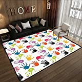 Large Classical Carpet,Home Decor,Colorful Children Hand Print Cute Teamwork Painting Kids Fun Games Illustration Print,Multi 55'x 63' Print Floor Mats Bedroom Carpet