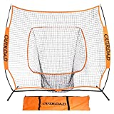 Outroad Baseball Nets Batting & Pitching 7 x 7 - Portable Practice Net w/Bow Frame &Strike Zone Target - Portable & Removable Ball Holder Batting Practice w/Carry Bag