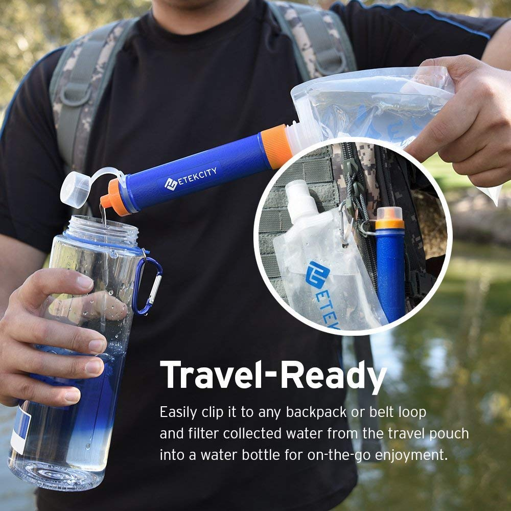 Etekcity Water Filter Straw with 1500L 3 Stage Filtration