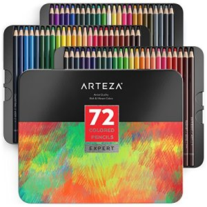 ARTEZA Colored Pencils, Professional Set of 72 Colors, Soft Wax-Based Cores, Ideal for Drawing Art, Sketching, Shading & Coloring, Vibrant Artist Pencils for Beginners & Pro Artists in Tin Box