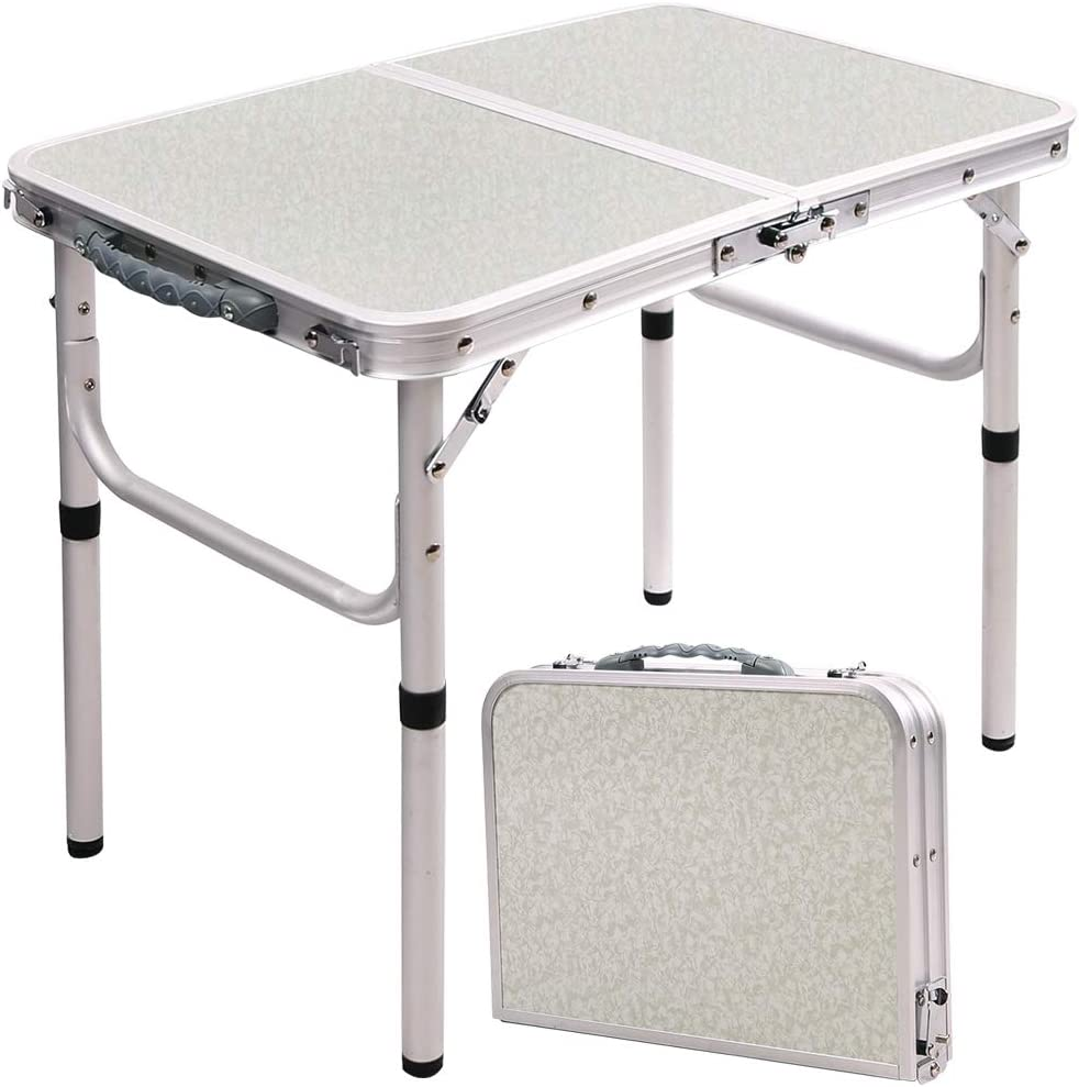 Amazon Com Redswing Small Folding Table Portable 2 Feet Small Foldable Table Adjustable Height Lightweight Aluminum Camping Table 23 6 X15 7 X10 2 19 Kitchen Dining