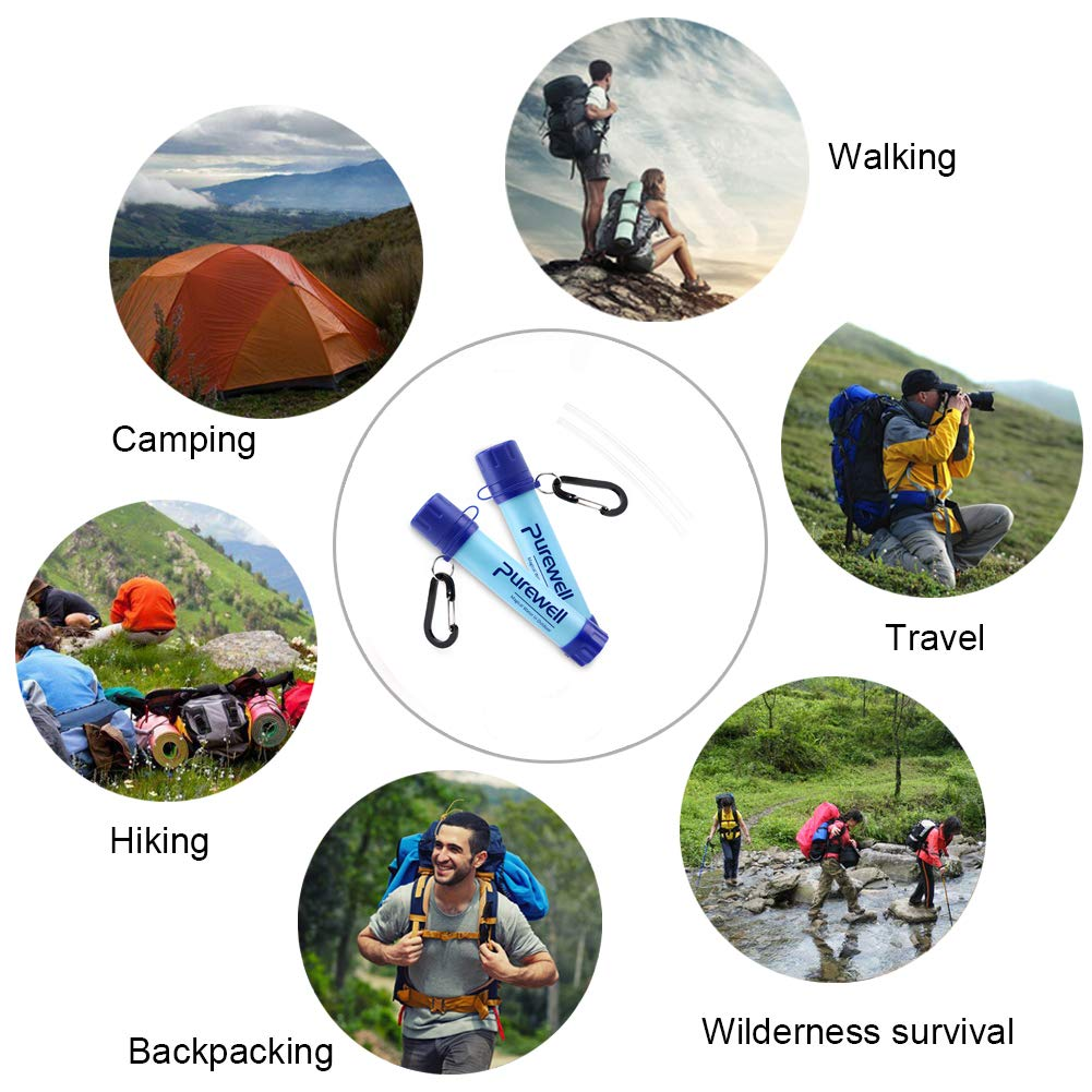 Purewell Outdoor Water Filter Personal Water Filtration Straw Emergency Survival Water Purifier for Camping Hiking Climbing Backpacking