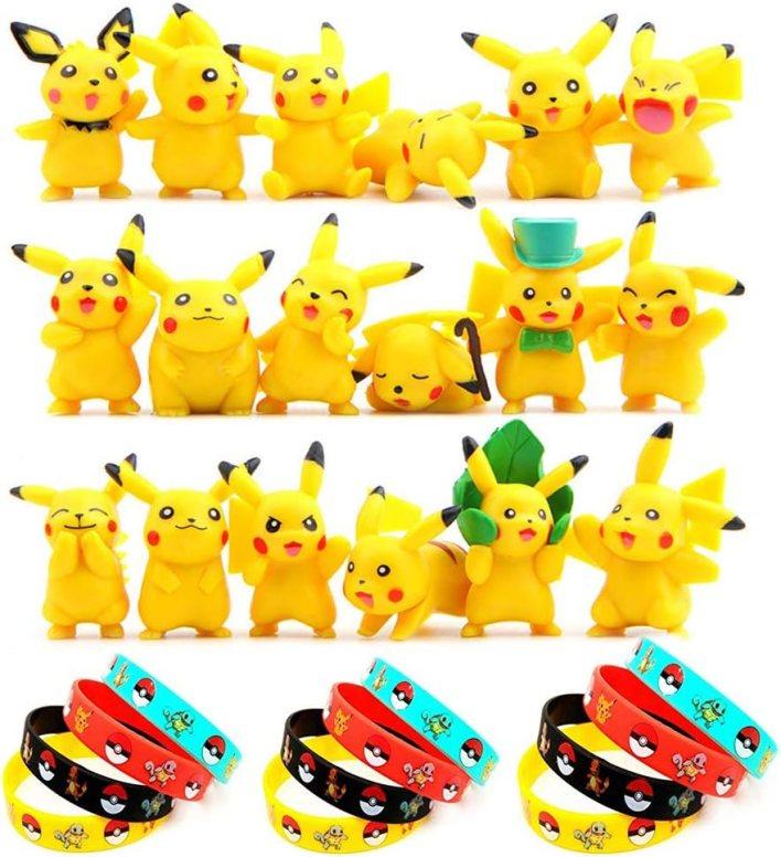 OMG Funmo - Pokemon Pikachu Figuras Pack(30 Piezas), Pokemon Pikachu Monster Mini Figure(18 Piezas) + Pokemon Pulsera de Silicona(12 Piezas),Fiesta para niños y Adultos