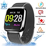 Men Fitness Tracker Watch - Blood Oxygen Heart Rate Monitor Blood Pressure Smart Watch, Waterproof Sport Activity Smart Band, Running GPS Tracker Pedometer Calorie Sync Phone, Gift for Father's Day