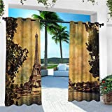 leinuoyi Eiffel Tower, Outdoor Curtain Waterproof, Eiffel Tower Trees River Bridge Water Daytime Landmark Oil Painting Design, Fabric by The Yard W72 x L108 Inch Brown Mustard