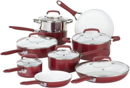 WearEver 2100087606 15 Piece Ceramic PTFE PFOA & Cadmium Free Nonstick Cookware Set, Red