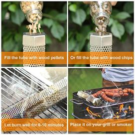 MVZAWINO-Pellet-Smoker-Tube-for-All-Grill-Electric-Gas-Charcoal-or-Smokers-5-Hours-of-Billowing-Smoke-Cold-or-Hot-Smoking-Ideal-for-Smoking-Cheese-Nuts-Steaks-Fish-Pork-Beef-12-Stainless-Steel