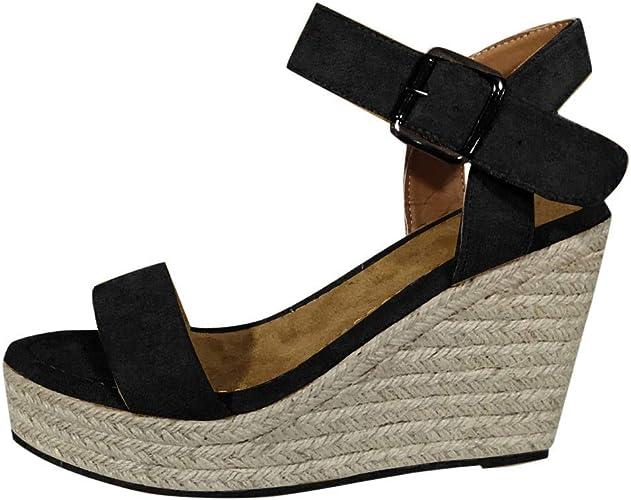 Zapatos Mujer Sandalias de Cuña con Plataforma Tacon Alto 10cm Talla 35-43 Elegante Romanos Estilo Playa Fiesta Boda |