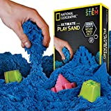 NATIONAL GEOGRAPHIC Play Sand - 2 LBS of Sand with Castle Molds and Tray (Blue) - A Kinetic Sensory Activity