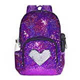Glitter Sequin School Backpack for Grils Kids Student Bookbag Lightweight Child Toddler Schoolbag, 17'(H)12¼'(L)4¾'(W) (Model1- Rose Red/Silver)