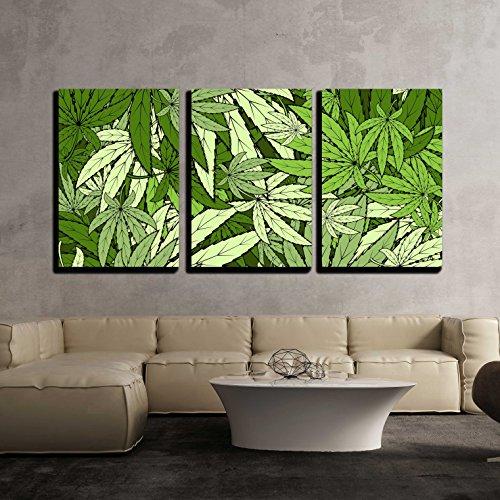 wall26 - 3 Piece Canvas Wall Art - Vector - Marijuana Background Eps 10 Vector Stock Illustration - Modern Home...