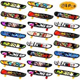 Oruuum 24 pcs Professional Finger Skateboard, Mini Skateboard with Pattern On Both Sides, Creative Fingertip Movement for Adults and Children (Random Mode).