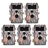 5-Pack 16MP 1920x1080P Video Game Trail Cameras Wildlife Deer Hunting Cams Time Lapse with 65ft Night Vision No Glow & No Flash 940nm Infrared IR Motion Activated IP66 Waterproof 0.6S Trigger 2.4' LCD