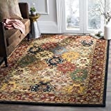 Safavieh Heritage Collection Handcrafted Traditional Oriental Multi and Burgundy Wool Area Rug (5' x 8')