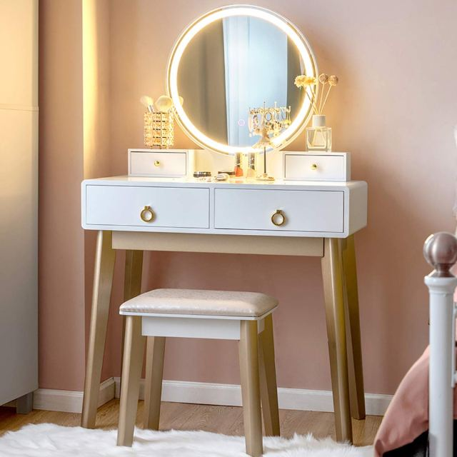 CHARMAID Vanity Set with Touch Screen Dimming Mirror, 3 ...