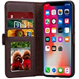 lopie [All-in-one Series iPhone X Wallet Case Flip Leather Folio Case Cover with Kickstand Feature Credit Card Slots and Magnetic Closure & Auto Sleep Wake Design for iPhone X/10 - Coffee
