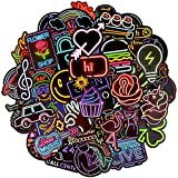 Waterproof Vinyl Stickers for Laptops Tablets Water Bottle Party Supplies (50Pcs Neon Style)