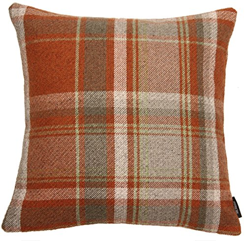 McAlister Textiles Heritage Pillow Case   Terracotta Orange Tartan Plaid Decorative Wool Feel Throw Square Scatter Sofa Cushion   Size - 24 x 24 Inches