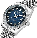 Men's Luxury Automatic Mechanical Watch Gold Watch Business Stainless Calendar Window Water Resistant (Silver Blue)