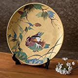 Jpanese traditional ceramic Kutani ware. Decorative Plate with a stand. Mandarin duck. With wooden box. ktn-K5-1379