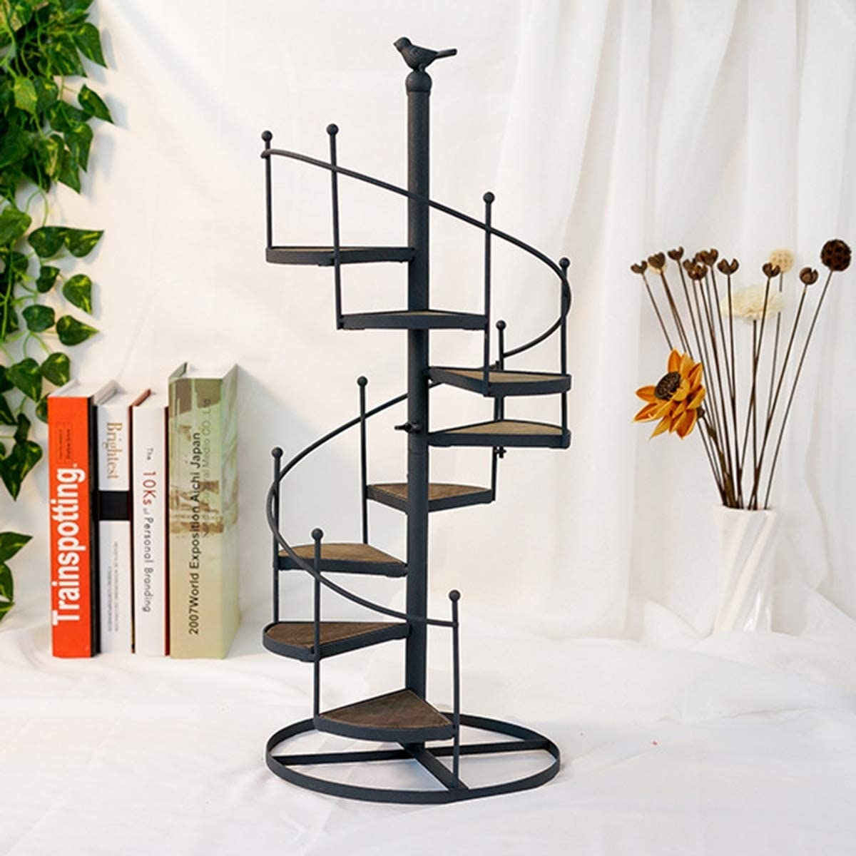 Amazon Com Qij Flower P*T Shelves Iron Black Metal Spiral   Iron Spiral Staircase For Sale   Round   Abandoned   Antique   Grey Exterior   Loft