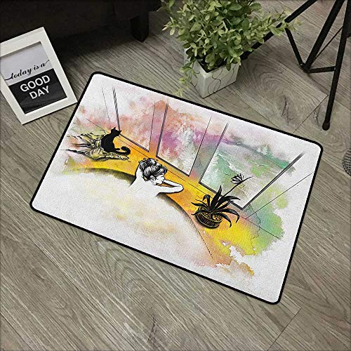 Bedroom Door mat W24 x L35 INCH Modern,Girl with Cat Taking Bath Spa Aroma Theraphy Relaxing Peaceful Massage Illustration, Multicolor with Non-Slip Backing Door Mat Carpet