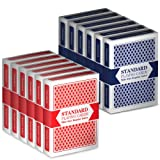 Brybelly 12 Decks (6 Red/6 Blue) Wide-Size, Regular Index Playing Cards Set - Plastic-Coated, Classic Poker Size