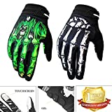 RIGWARL Cycling Gloves Mountain Bike Gloves Bicycle Riding Gloves Touchscreen Motorcycle Gloves Full Finger Workout Gloves Skeleton Gloves for Men and Women (Green, Large)