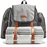 VonShef Picnic Backpack for 4 Person Outdoor Bag with Blanket - Woven Grey Waterproof Finish, Includes 29 Piece Dining Cutlery Set & Insulated Cooler Bag Compartment to Keep Food Chilled