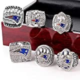 YIYICOOL New England Patriots 6 Years Rings Set, Super Bowl 2019-2001 Championship Replica Rings Size 9-12 (10, Wooden Box)