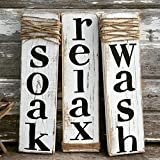Rustic Sign Soak Wash Relax - Farmhouse Bathroom Decor - Set of Three - Whitewash Wood Sign