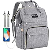 Large Diaper Bag Backpack, Mokaloo Anti-Water Maternity Nappy Bags Changing Bags with Insulated Pockets and Stroller Straps, Multi-functional Travel Back Pack Built-in USB Charging Port