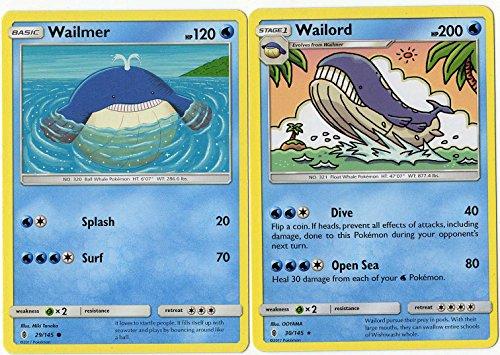 Evolution Set - Wailord & Wailmer - Guardians Rising 30/145-200 HP Rare Card lot