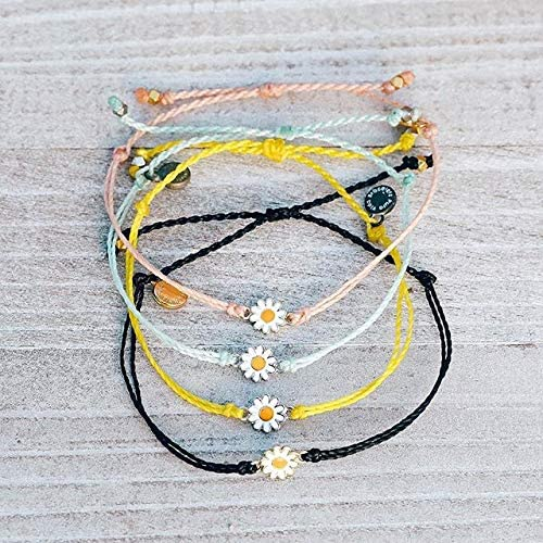 Pura Vida Gold or Silver Daisy Bracelet - Waterproof, Artisan Handmade, Adjustable, Threaded, Fashion Jewelry for Girls/Women 5