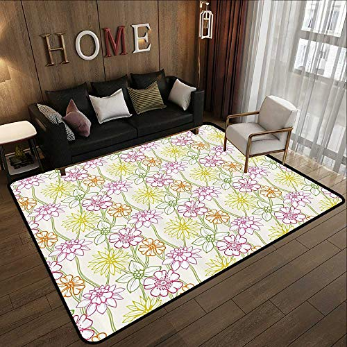 Rugs for Sale,Floral,Hand Drawn Colorful Flourishing Spring Flowers Sketchy Design Natural Garden Theme,Multicolor 47'x 59' Kitchen Mat