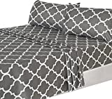 Utopia Bedding 4PC Bed Sheet Set 1 Flat Sheet, 1 Fitted Sheet, and 2 Pillow Cases (Queen, Grey)