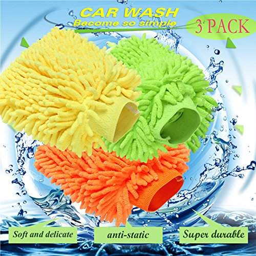 COOCHEER 3 Pack Car Wash Mitt Premium Chenille Microfiber Washing Mitt Universal Size, Super Absorbent, Lint Free and Scratch Free