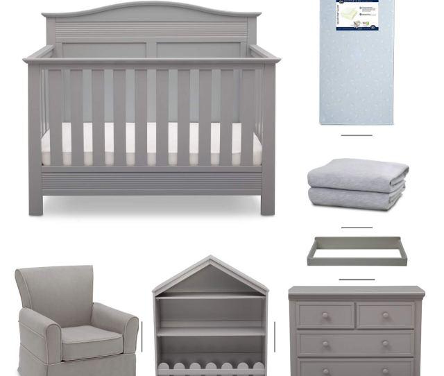 Amazon Com Serta Barrett 7 Piece Nursery Furniture Set Convertible Crib Dresser Changing Top Bookcase Crib Mattress Glider Crib Sheets Grey