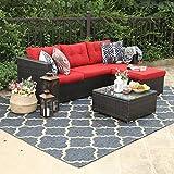PHI VILLA Outdoor Rattan Sectional Sofa- Patio Wicker Furniture Set (3-Piece, Red)