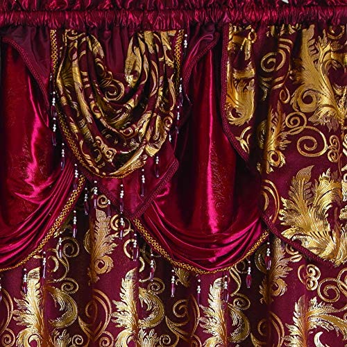 """Golden Rugs Jacquard Luxury Curtain Window Panel Set Curtain with Attached Valance and Backing Bedroom Living Room Dining 112""""X84"""" Each Jana Collection (Burgundy) 2"""