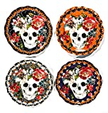 222 Fifth Halloween Marbella Sugar Skull Multi-color Appetizer/Dessert/Tid-Bit Plates (Set of 4)