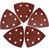 XXGO 3-1/2 Inch 90mm Triangular 60/80 /100/120 /240 Grits Hook & Loop Multitool Sandpaper for Wood Sanding Contains 20 of Each Fit 3.5 Inch Oscillating Multi Tool Sanding Pad Pack of 100 XG9010