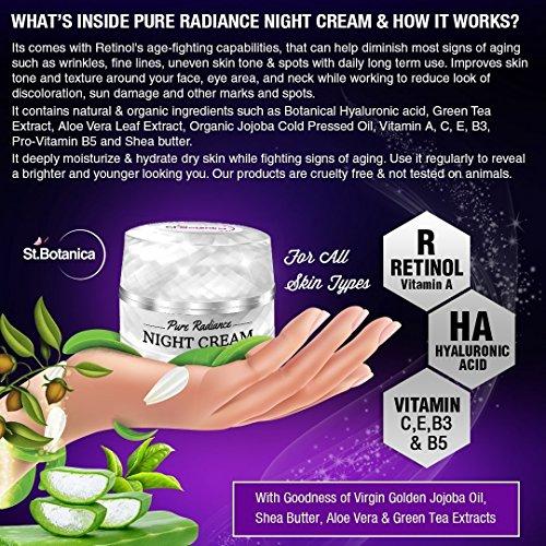 61vz32IRWIL - StBotanica Pure Radiance Night Cream - Intensive Firming, Anti-Aging & Skin Brightening, 50gm (With Vitamin C, Retinol, Hyaluronic acid, Collagen)