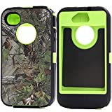 Kecko(TM) Heavy Duty Defender Tough Armor Shockproof Dirtproof Hunting Tree Camo High Impact Hybrid Combo Hard Case Cover Protective Skin W/ Built In Screen Protector for iphone 4/4s--Camo Trees on the Core (Forest Green)