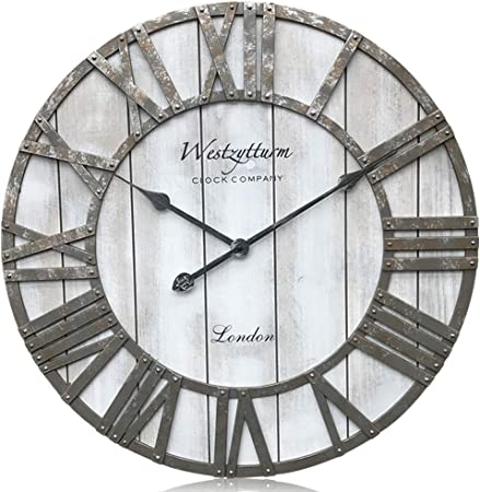 Westzytturm Extra Large Wooden Wall Clock Roman Numerals Decorative Oversized Wall Clocks For Living Room Mantel Kitchen Office Garden Grey 60cm Diameter Amazon Co Uk Kitchen Home