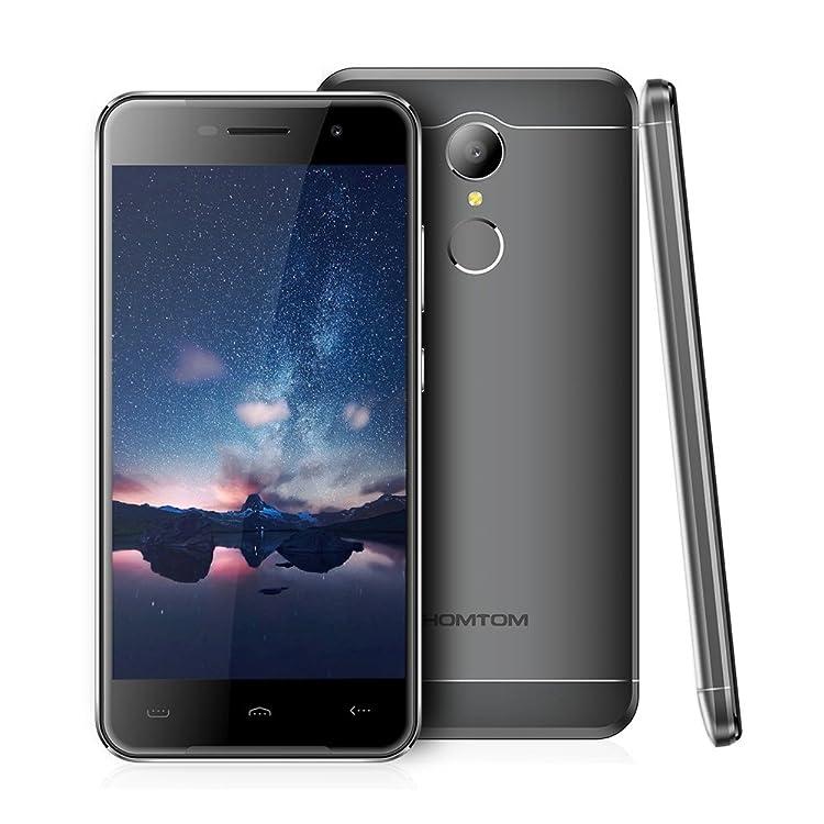 HOMTOM HT37 スマートフォン simフリー(au不可)3G WCDMA 5.0インチ720*1280px MTK6580 クアッドコア 1.3GHz CPU Android 6.0 OS 2GB RAM 16GB ROM バッテリーデュアルSIM 高速充電 指紋認識 GPS KKmoonスタンドつき 国内用充電器つき