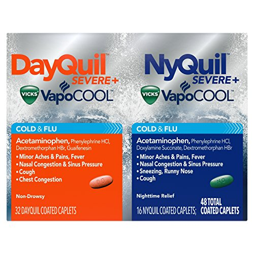 DayQuil and NyQuil SEVERE with Vicks VapoCOOL Cough, Cold & Flu Relief, 48 Caplets (32 DayQuil & 16 NyQuil) – Relieves Sore Throat, Fever, and Congestion, Day or Night (Packaging May Vary)